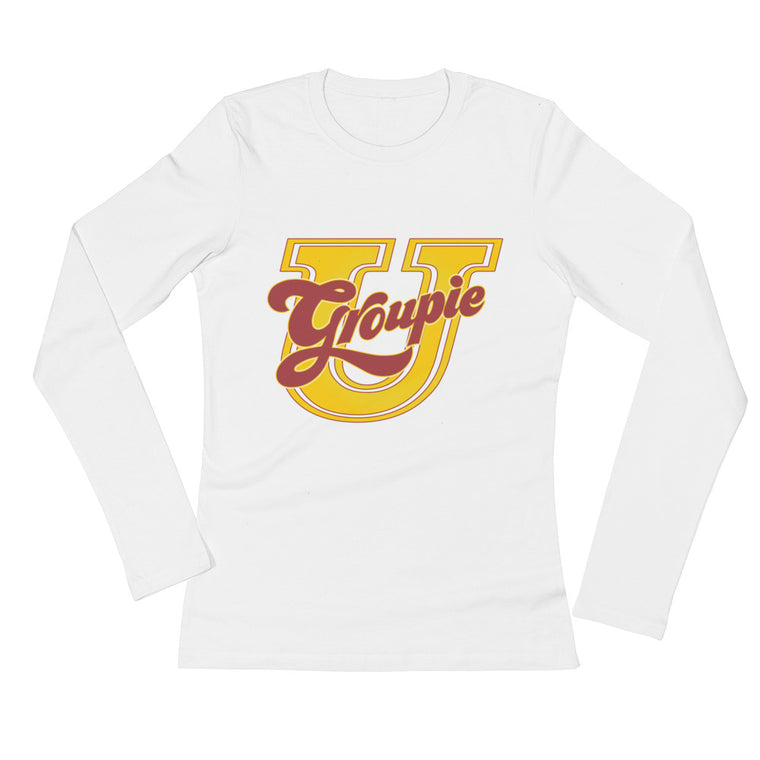 Women's tops like this white long sleeve tee are great for work or play. 100% cotton is soft and fit is sexy in all sizes. You'll wear it well.