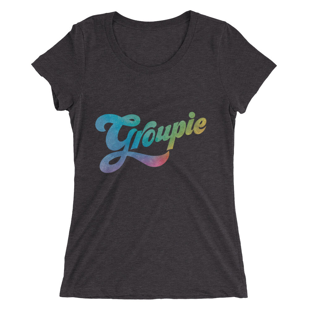 Rainbow colors in this women's top kick off the Groupie logo and send good vibes out every time you wear it.