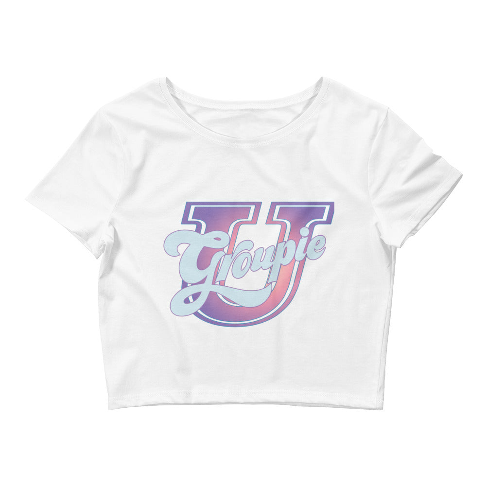 Womens GroupieU cropped Tee brings classic university colors and design to a sexy white belly out top.