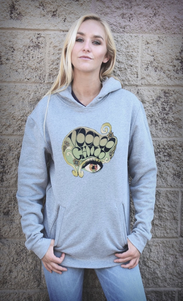 This women's pullover hoodie with rockin Voodoo Child graphic will keep you cozy day and night