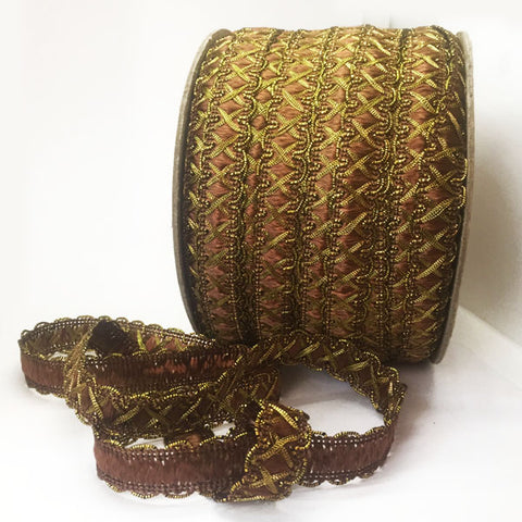Cinta Crochet de Metal Con Color Oro y Cafe