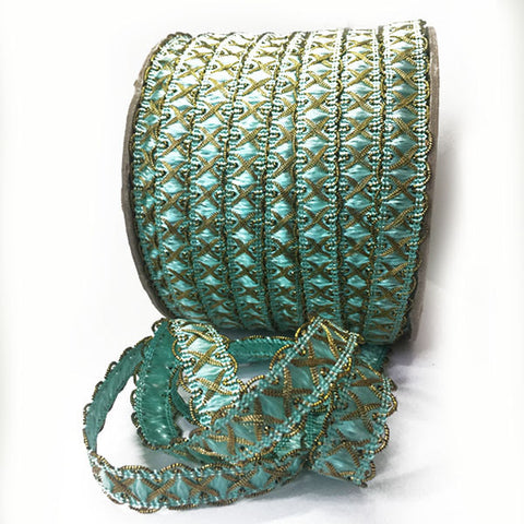 Cinta Crochet de Metal Con Color Oro y Aqua