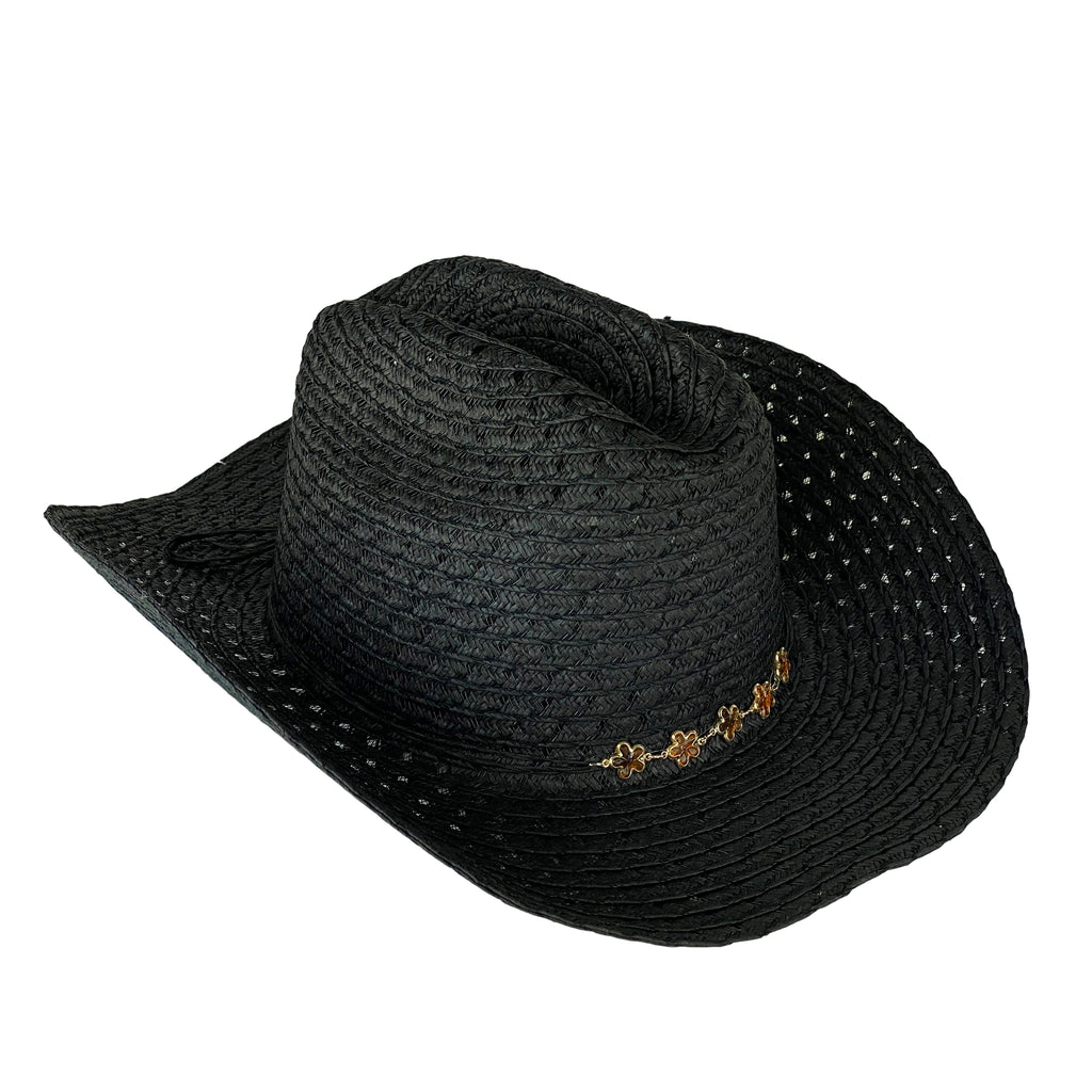 Hat- Cowboy Hat Straw Black