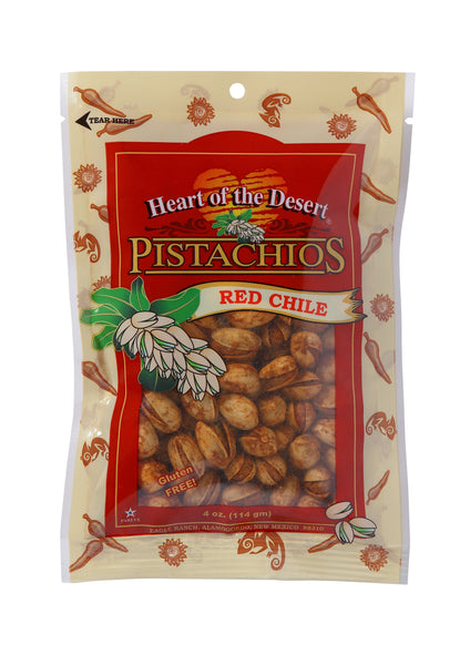 Pistachios - 1/4 LB Red Chile - plastic bag