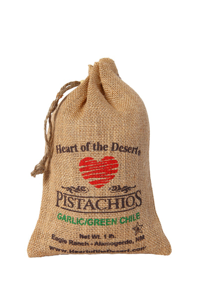 Pistachios - 1 LB Green Chile/Garlic - burlap bag
