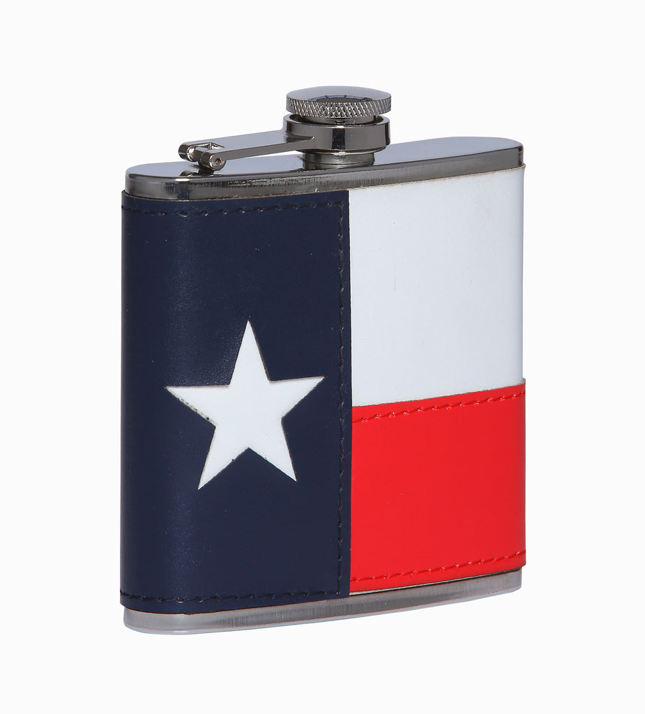 TX Flag Leather Flask