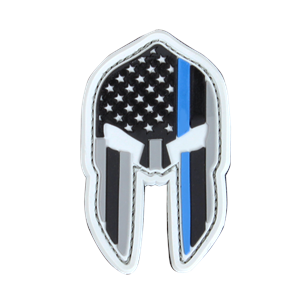 Blue Line Spartan Helmet Patch