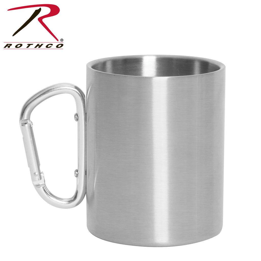 Rothco Insulated Stainless Steel Portable Camping Mug With Carabiner Handle – 15 oz