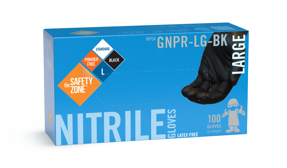The Safety Zone ® Powder Free Black Nitrile Gloves
