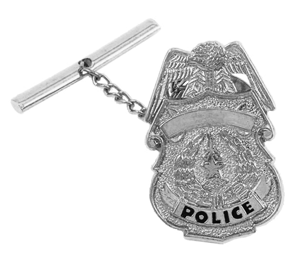 POLICE BADGE TIE TAC W/JEWELERS CLUTCH, CHAIN & BAR