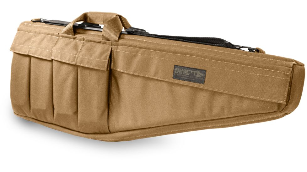"Assault Systems Rifle Case, 28"", Coyote Tan, 9mm Stick Mags"