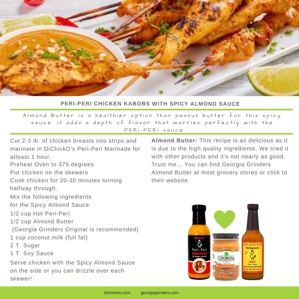 Peri-Peri Chicken Kabobs with Spicy Almond Sauce