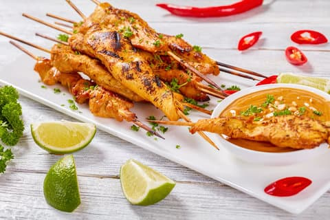 Peri-Peri Chicken Kabobs (skewers) with Spicy Almond Sauce
