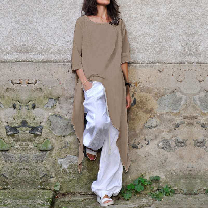 Plus Size Shirts Loose Women Linen Blouse Half Sleeve Casual Asymmetrical Tunic Tops - Hijab Modesty İstanbul