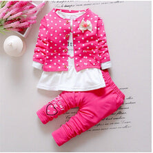 Baby Girl Clothing Sets Kids 3PCS Coat+ T-Shirt + Pants Children Cute Princess Print Bow Baby Girl Outfits - Hijab Modesty İstanbul