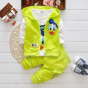 Boys Clothes Suits Cartoon Donald Duck Baby Kids Boys Outerwear Hoodie Jacket Baby Sport Boys Clothing Sets Suits - Hijab Modesty İstanbul