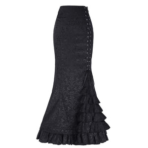 Victorian Style Ruffled Jacquard Medieval Costume Fishtail Mermaid Long Maxi Skirt - Hijab Modesty İstanbul