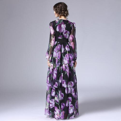 HMI - Tiered Tulip Floral Printed Long Dress - Hijab Modesty İstanbul