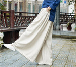 Women Linen Wide Leg Pants Elastic Waist New Pockets Plus Size Loose  Trousers - Hijab Modesty İstanbul