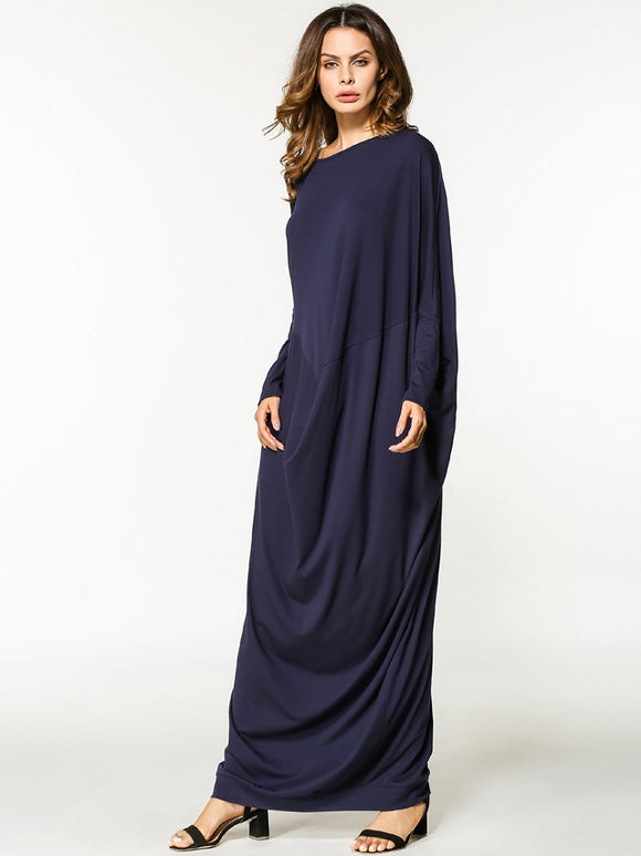 HMI - Dark Blue Loose Style Maxi Islamic Dress