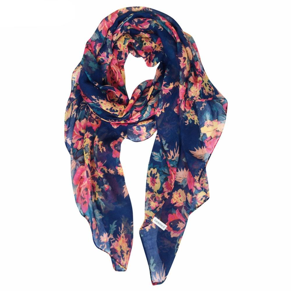 Voile Scarves Flowers Print New Designer Shawls Hijab Scarfs - Hijab Modesty İstanbul