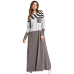 Pocket Patch Stripes Maxi Dresses Long Sleeve T shirt Muslim Modest Dress - Hijab Modesty İstanbul
