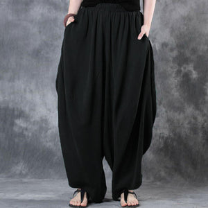 Pockets Elastic Waist Long Pants Drop-Crotch Trousers Casual Modest Pants