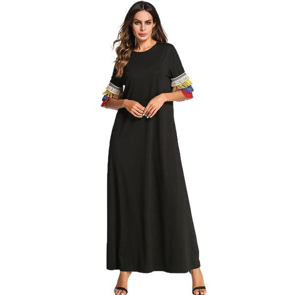 c80589ac6190 Multicolor Tassel Design Maxi Long Dress Plus Size T shirt Muslim Dresses  Black - Hijab Modesty