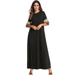 Multicolor Tassel Design Maxi Long Dress Plus Size T shirt Muslim Dresses Black - Hijab Modesty İstanbul