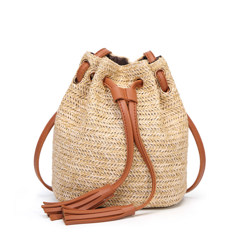 Straw Summer Bucket Bag Purse Weave Purse Handbag Fringe Bohemian Bag Pouch Popular - Hijab Modesty İstanbul