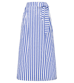 Striped Skirt Full Length Elastic High Waist Jupe Ladies Cotton Long Maxi Skirts - Hijab Modesty İstanbul