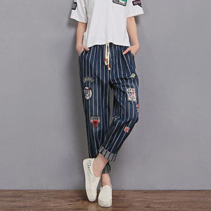 Striped Cotton Jeans loose Ankle-Length Plus Size Pants - Hijab Modesty İstanbul