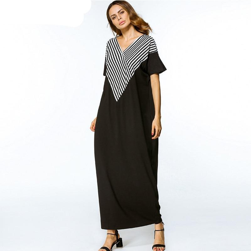 V neck Striped Patchwork Dress Elegant Maxi Short Sleeve Long Dresses - Hijab Modesty İstanbul