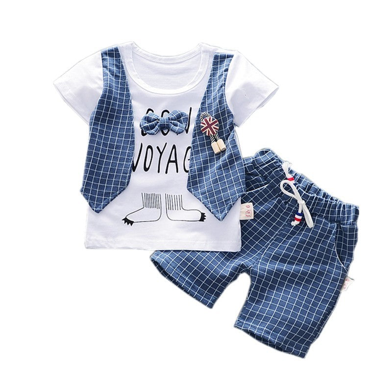 Summer Children Boys Cotton Clothes Kids Bowknot T-Shirt Shorts 2pcs/Sets Toddler Fashion Clothing Sets Baby Tracksuits - Hijab Modesty İstanbul