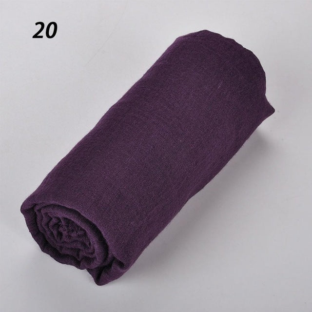 Muslim Women Soft Cotton Scarves Retro Tassels Solid Color 180 x 90 Thin Wraps Hijabs - Hijab Modesty İstanbul