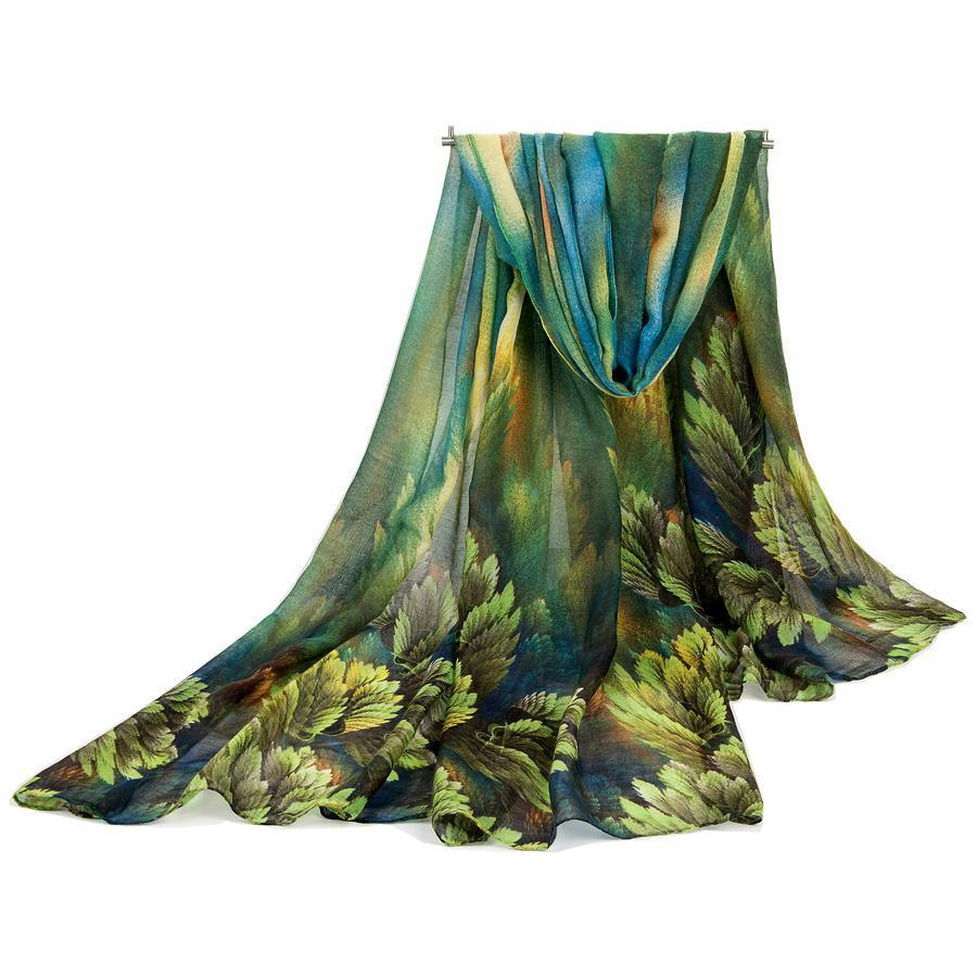 Leaves Printed Long Hijab Scarf - Hijab Modesty İstanbul