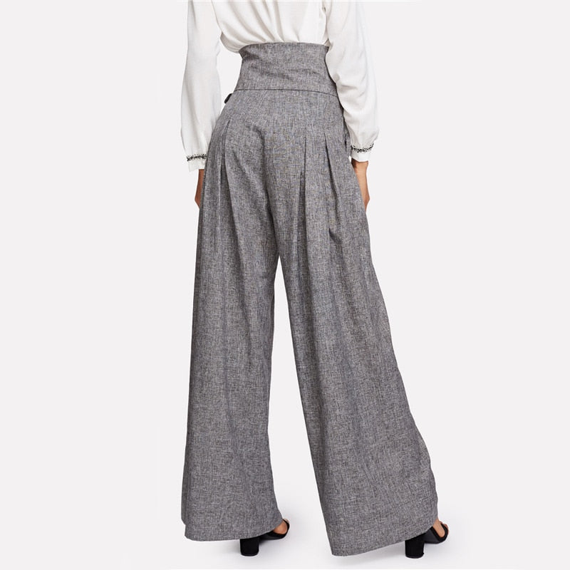 Women Zipper Fly Loose Trousers Grey High Waist Self Belted Pleated Pants - Hijab Modesty İstanbul