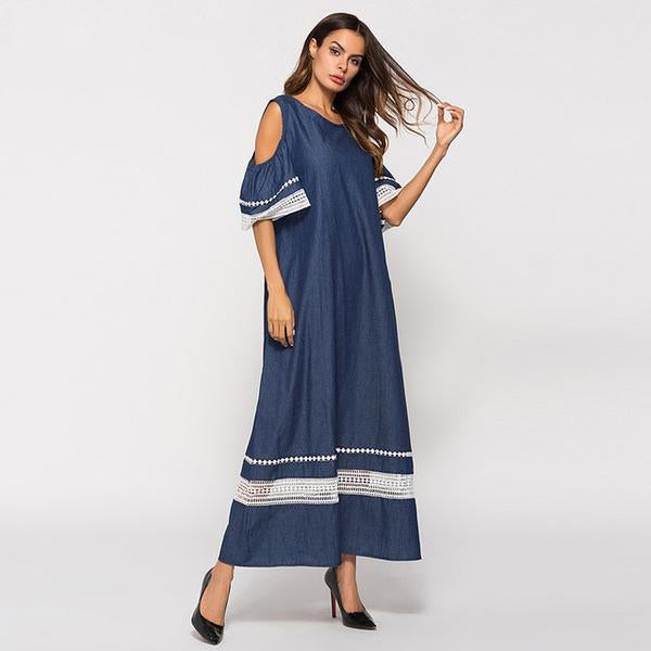 Denim Dress Blue Cold Shoulder Lace A line Long Dress - Hijab Modesty İstanbul