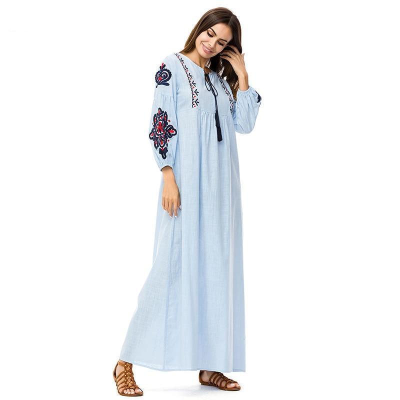 Elegant Embroidery Long Dress Casual Muslim Maxi Dress - Hijab Modesty İstanbul