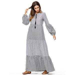 Plaid Stripe Patchwork Women Dresses Autumn Casual Maxi Dresses Ruffles Long Muslim Dress - Hijab Modesty İstanbul