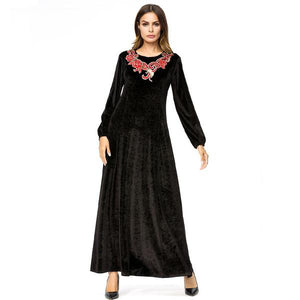 Women Velvet Long Dress Chic Embroidery Maxi Dresses Black Round Neck Long Sleeve Elegant Dress - Hijab Modesty İstanbul
