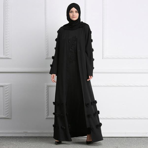 Muslim Cardigan Abaya 3D Flower esign women Gowns Solid fashion Ramadan Robes Musulman kaftans and Jubah UAE Eid Adha - Hijab Modesty İstanbul