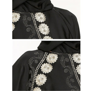 Muslim Abaya Embroidery Maxi Dress Diamonds Long Hijab Loose Style Islamic Clothing - Hijab Modesty İstanbul