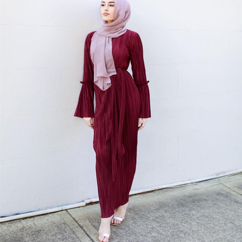 Bandage Pleated Maxi Muslim Hijab Dress - Hijab Modesty İstanbul