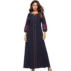 Navy Blue Vintage Embroidery Maxi Dress V-Neck Tassel Casual A-Line Long Dress Plus Size - Hijab Modesty İstanbul
