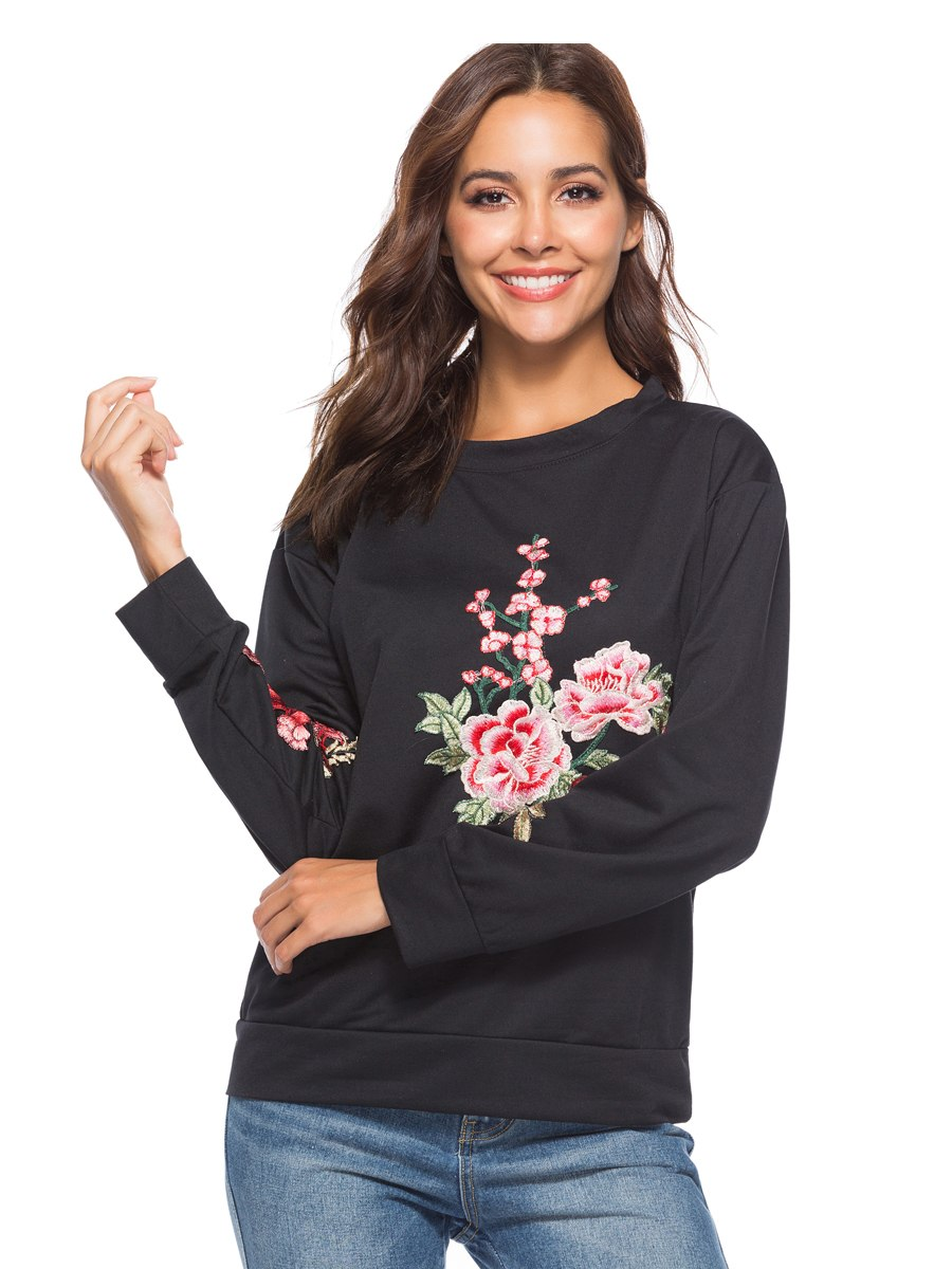 Floral Embroidery O-neck Long Sleeve Women Pullover  Sweatshirt - Hijab Modesty İstanbul