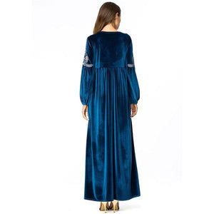 High Waist Swing Velvet long Dress Maxi Dresses Chic Floral Embroidery A line Dress Navy - Hijab Modesty İstanbul