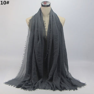 Women Wrinkle Crinkle Bubble Plain Cotton Hijab Scarf with Fringes Muslim Turban Head Wraps - Hijab Modesty İstanbul