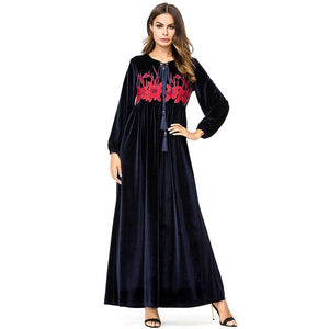 Maxi Dresses Velvet Autumn Winter Floral Embroidery Long Dress - Hijab Modesty İstanbul