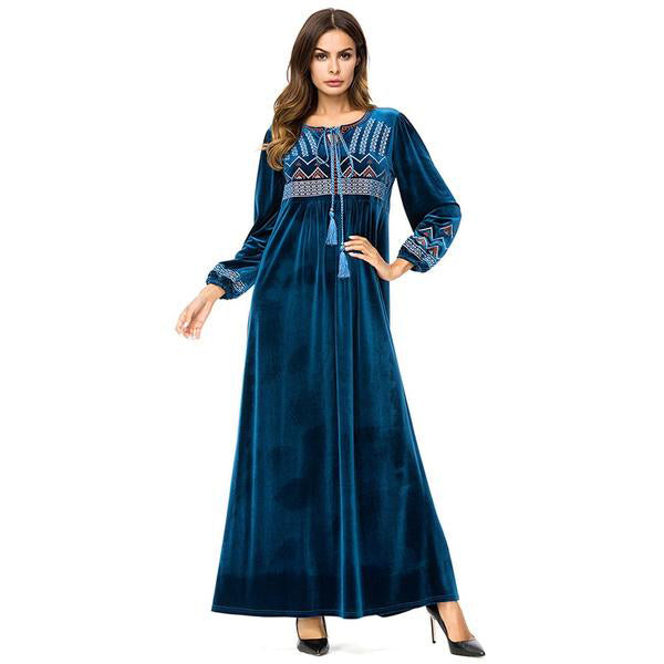 Velvet Embroidered Long Dress Chic Geometric Embroidery Maxi Dresses - Hijab Modesty İstanbul